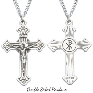 Double Sided Men's Fine Pewter Crucifix Pendant Necklace