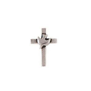 Fine Pewter Christian Lapel Pin | Cross with Dove