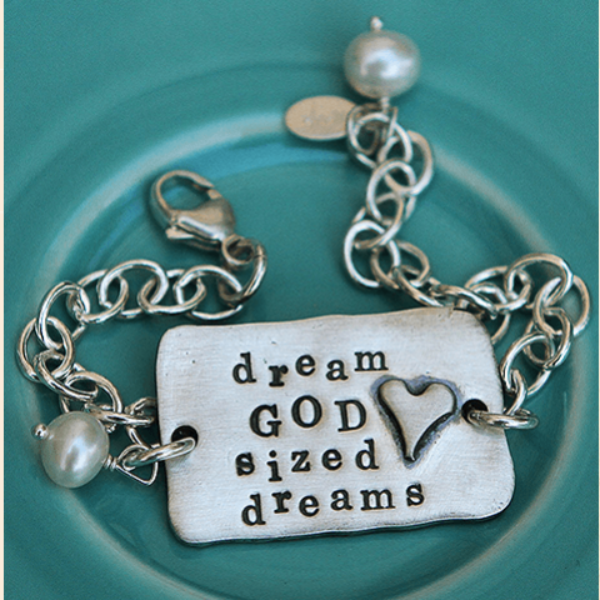 The Vintage Pearl Hand-Stamped Pewter Bracelet | Dream God-Sized Dreams