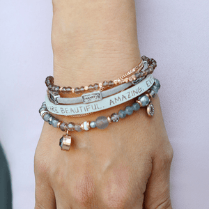 Good Works Make A Difference Sparkling Genuine Leather Inspirational Bracelets | Eden Trio
