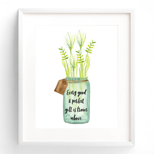 Every Good & Perfect Gift is From Above Bible Verse Watercolor Art Print | James 1:17