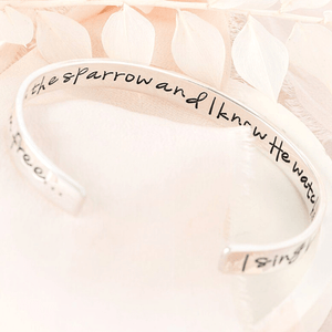 His Eye is on the Sparrow Sterling Silver Engraved Cuff Bracelet