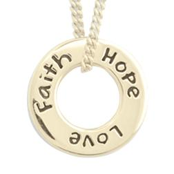 14k Gold 1 Corinthians 13 Necklace | Faith Hope Love