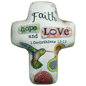 Faith Hope Love Artful Cross Pocket Token