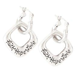 Sterling Silver Faith, Hope, Love Earrings - Clothed with Truth