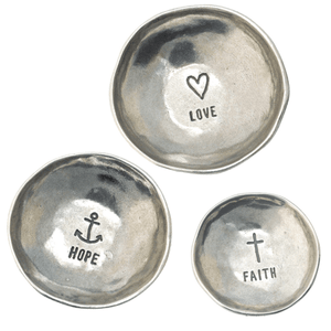Set of Three Handcrafted Pewter Ring Dishes | Faith Hope Love