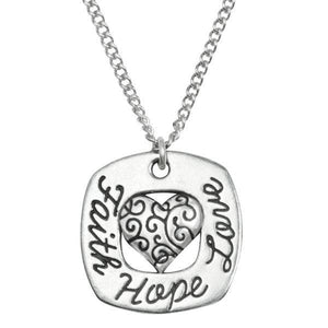 Fine Pewter Faith Hope Love Necklace