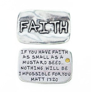 Fine Pewter Scripture Verse Pocket Token | Faith | Matthew 17:20