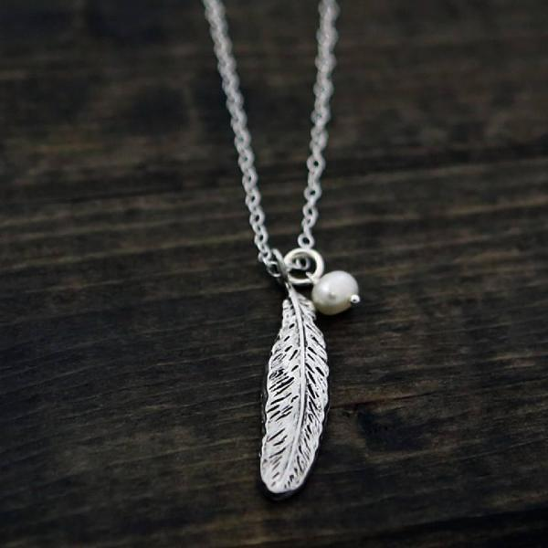 The Vintage Pearl Scripture Verse Necklace | Feather of Refuge | Psalm 91:4 |  Double Sided
