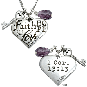 Fine Pewter 1 Corinthians 13 Necklace | Faith Hope Love