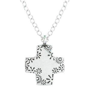 Fine Pewter Square Floral Cross Necklace