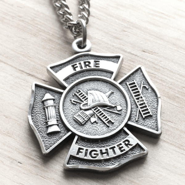 Sterling Silver Firefighters Pendant Necklace with Philippians 4:13 & Cross