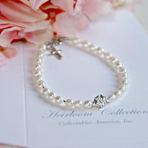 "6"" Freshwater Pearl Children's Bracelet with Cross Charm"