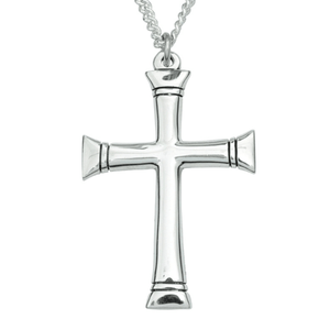 Sterling Silver Flat Ends Cross Pendant Necklace