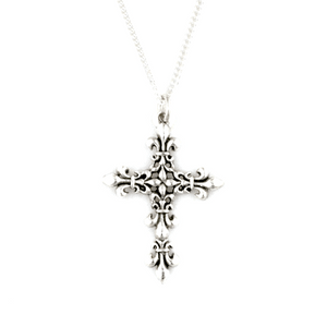 Handcrafted Sterling Silver Necklace | Fleur-de-Lis Cross | Bob Siemon Designs