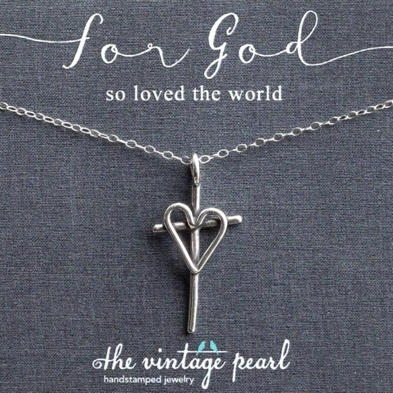 For God So Loved the World Sterling Silver Cross Necklace | The Vintage Pearl