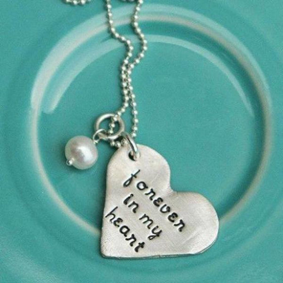 The Vintage Pearl Hand-Stamped Necklace | Forever in My Heart