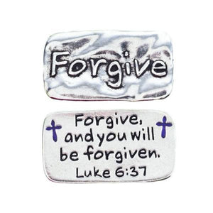 Fine Pewter Scripture Verse Pocket Token | Forgive | Luke 6:37