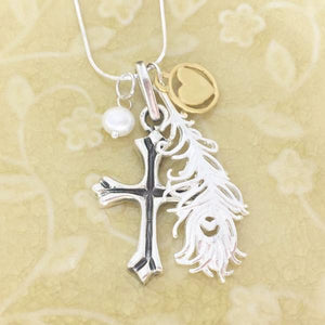 Sterling Silver Heart Set Free Cross Necklace