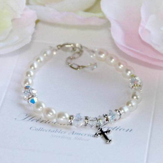 Freshwater Pearl and Swarovski Crystal Children's Bracelet with Cross Charm | First Communion or Baptism Gift | 6""