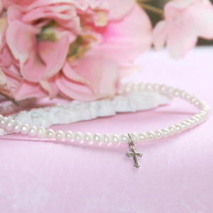Freshwater Pearl Necklace with Cross Charm | Baptism or First Communion Gift