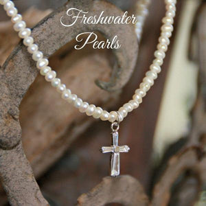 Freshwater Pearl CZ Cross Necklace