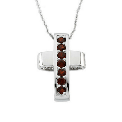 Reversible Garnet and Sterling Silver Healing Cross Necklace