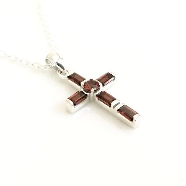 Handcrafted Garnet and Sterling Silver Cross Necklace