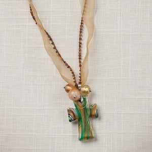 Gold Artisan Glass Cross Necklace