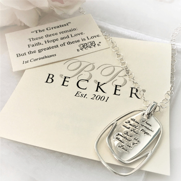 Faith Hope Love Sterling Silver Necklace | BB Becker | 1 Corinthians 13:13