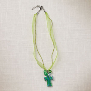 Green Artisan Glass Cross Necklace