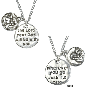 Fine Pewter Guardian Angel Necklace | Joshua 1:9