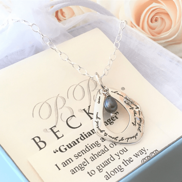 Guardian Angel Sterling Silver & Freshwater Pearl Necklace | Exodus 23:20 | BB Becker