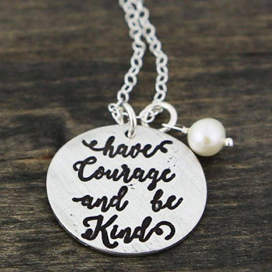 The Vintage Pearl Hand-Stamped Necklace | Have Courage and Be Kind