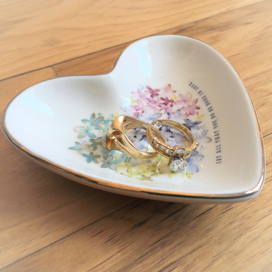 Let All That You Do Be Done In Love Floral Heart Trinket Dish | 1 Corinthians 16:4
