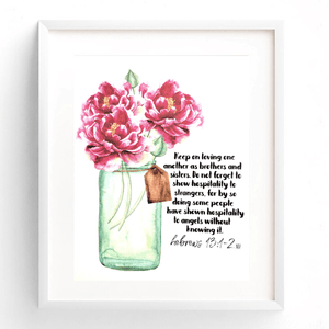 Love One Another Bible Verse Watercolor Art Print | Hebrews 13:1-2