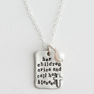 The Vintage Pearl Scripture Verse Necklace | Her Arise and Called Her Blessed