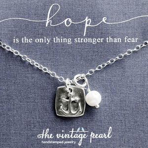 Hope in the Lord Fine Pewter Anchor Necklace | The Vintage Pearl