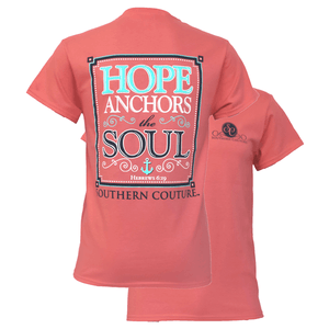 Southern Couture Christian Shirt | Hope Anchors the Soul | Hebrews 6:19 | Coral