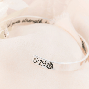 Hope Anchors the Soul Sterling Silver Engraved Cuff Bracelet | Hebrews 6:19