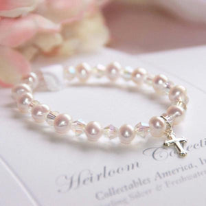 "6"" Freshwater Pearl and Swarovski Crystal Children's Bracelet with Sterling Silver Cross Charm"