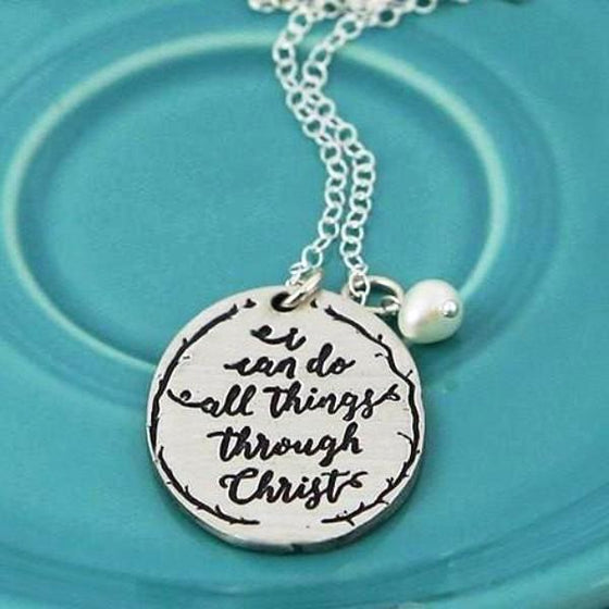 The Vintage Pearl Calligraphy Scripture Verse Necklace | I Can Do All Things Through Christ