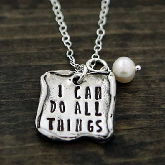 The Vintage Pearl Scripture Verse Necklace | I Can Do All Things Through Christ