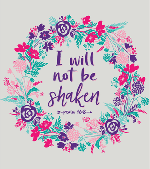 Southern Couture Christian T-Shirt | I Will Not Be Shaken | Psalm 16:8 | Raglan 3/4 Sleeve