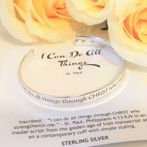 Philippians 4:13 Sterling Silver Cuff Bracelet | I Can Do All Things Through Christ