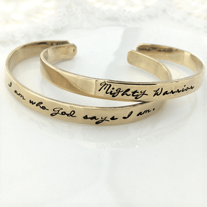 Gold Brass Cuff Bracelets | Identity in Christ Collection | Choose Your Verse