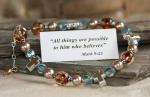 Swarovski Crystal and Pearl Scripture Verse Bracelet | All Things Are Possible | Mark 9:23
