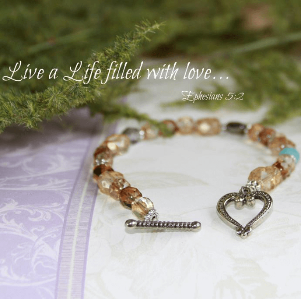 Swarovski Crystal Scripture Verse Bracelet | Live a Life Filled with Love | Ephesians 5:2