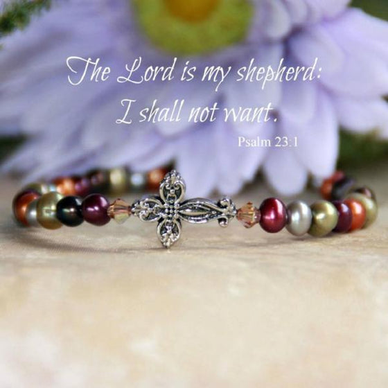 Multi Colored Freshwater Pearl Scripture Verse Bracelet | Psalm 23:1 The Lord is My Shepherd