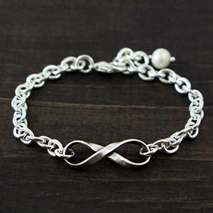 The Vintage Pearl Fine Pewter Infinity Bracelet